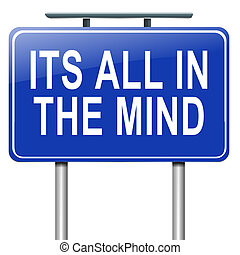 All in the mind. - Illustration depicting a roadsign with an...