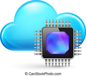 Chip and Cloud. Illustration on white background