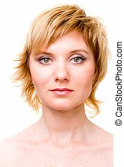beautiful face - Female portrait. The beautiful face close...