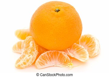 mandarin and some tangerine segments on a white background