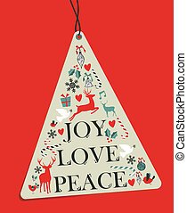 Christmas pine tree hang tag over red background. Vector...