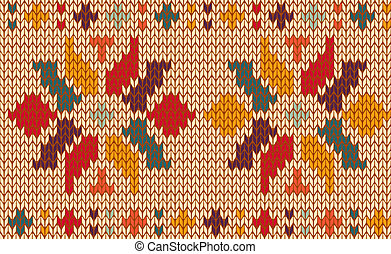 Retro floral knitted pattern background - Vintage floral...