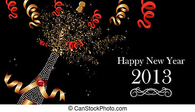 Happy New Year 2013 banner - Diamond champagne bottle with...
