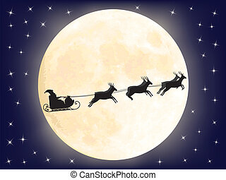 Santa Claus sledge over full moon vector illustration
