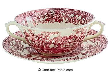 ANTIQUE VISTA SOUP BOWL - antique soup bowl with underplate...