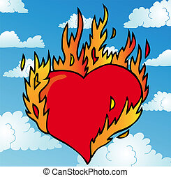 Burning heart on sky - vector illustration.