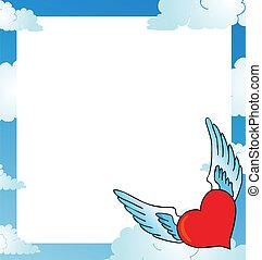 Frame with heart on sky
