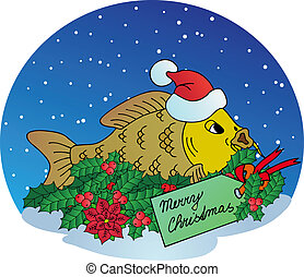 Xmas carp on snow background - vector illustration.