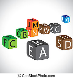 Illustration of colorful cubes of alphabets. The cubes are made of english language characters in capital case which are used to teach children