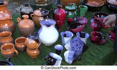 colorful ceramics jugs and vases