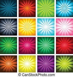 Colorful Bursting Backgrounds - Vector set of colorful...
