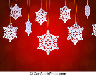 White Snowflakes on the Red Background