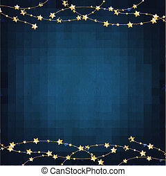 Xmas Blue Background With Gold Stars With Gradient Mesh,...