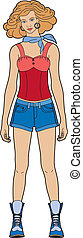 Woman in shorts - Young woman standing fashion victim