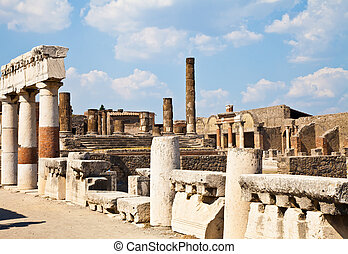 Pompeii - archaeological site - Detail of Pompeii site. The...