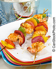 Zesty Shrimp Kebabs - Shrimp kebabs with colorful bell...