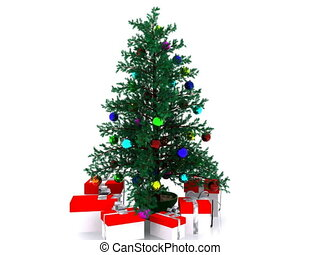 Decorated Christmas tree - 3D