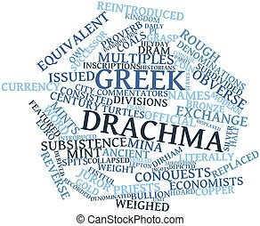 Greek drachma - Abstract word cloud for Greek drachma with...