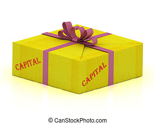 CAPITAL stamp on gift box wrapped yellow paper, illustration...