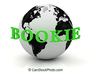 BOOKIE abstraction inscription around earth on a white...