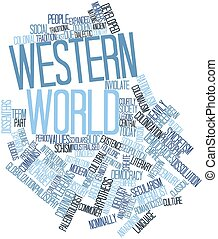 Western world - Abstract word cloud for Western world with...