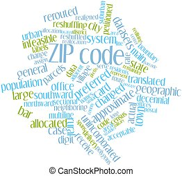 ZIP code - Abstract word cloud for ZIP code with related...