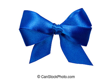 blue bow with tails from ribbon