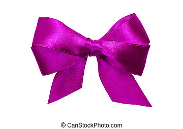 purple bow with tails from ribbon