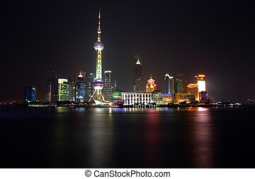 China Shanghai -Pearl tower- view 1 - Night view of...