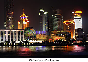 China Shanghai -Pearl tower - Night view of Shanghai, China