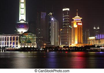 China Shanghai -Pearl tower -  Night view of Shanghai, China