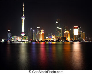 China Shanghai -Pearl tower- view 2 - Night view of...