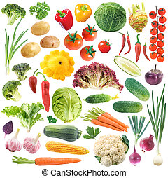 Set of vegetables isolated on the white background