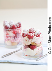 Sweet dessert - Delicious raspberry dessert with cream and...