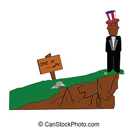 leap of faith - president  standing on edge of fiscal cliff