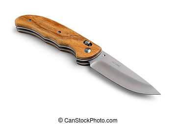 Pocket knife - Open pocket knife with wooden handle isolated...
