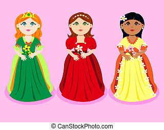 Trio of cartoon princesses