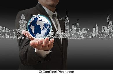 Young stylish businessman touching virtual interface button....
