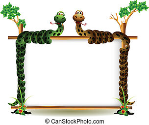 funny couple snake on the tree - vector illustration of...