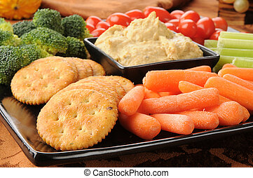 Party snack tray - Closeup of a party snack tray with...