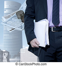 businessman with city background of finance