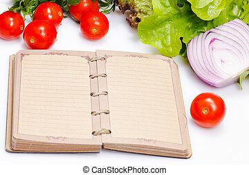 ouvert, cahier, frais, Légumes