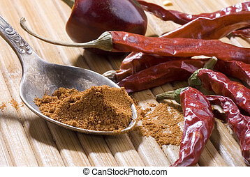 Still life of spice. Red pepper