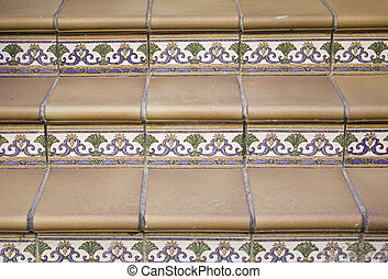 Stairs with tiles in the form of mosaic and marble...