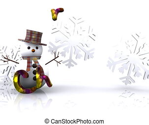 Merry Christmas - 3D - Merry Christmas - with snowman greets...