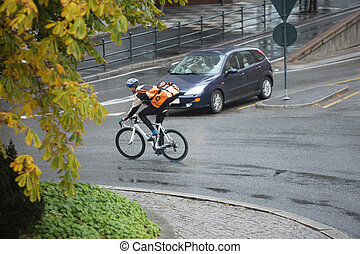 Male Cyclist With Backpack On Street - Man in protective...