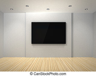 TV in the white room - 3d TV in the white room