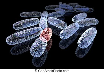 Mutated bacteria - 3d rendered concept of transformed...