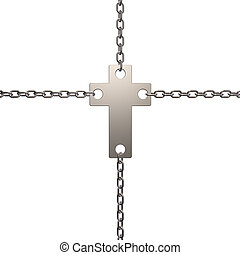 christian cross in chains - 3d illustration