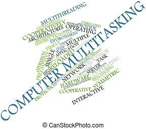 parola, nuvola, computer, multitasking